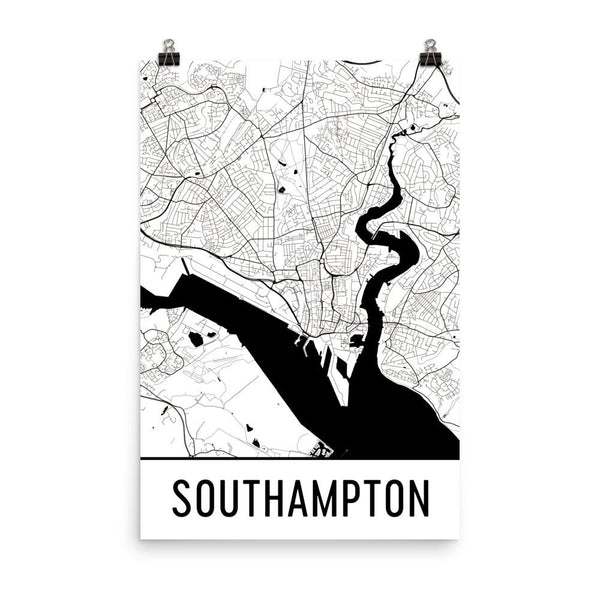 Southampton UK Street Map Poster White