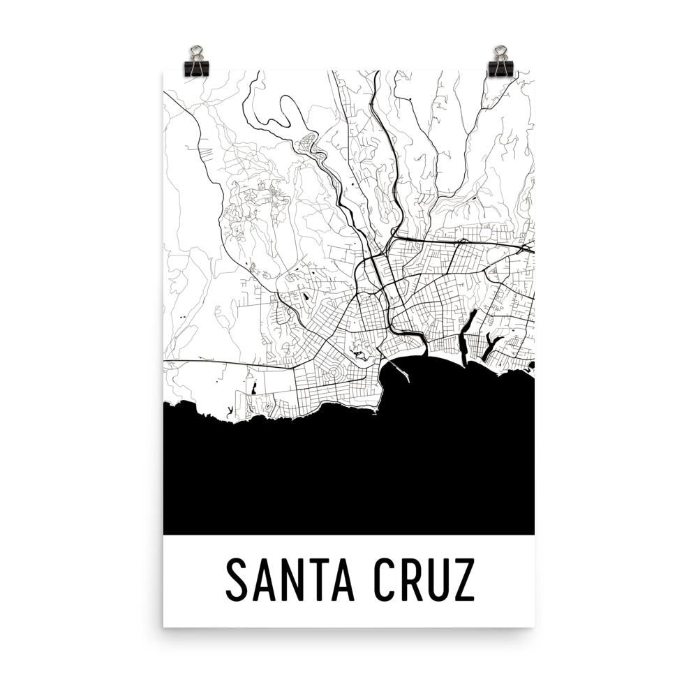 Santa Cruz CA Street Map Poster White