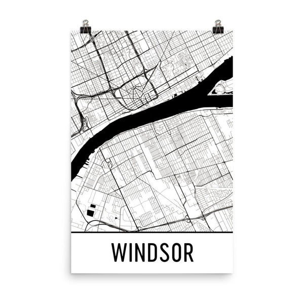 Windsor Ontario Street Map Poster White