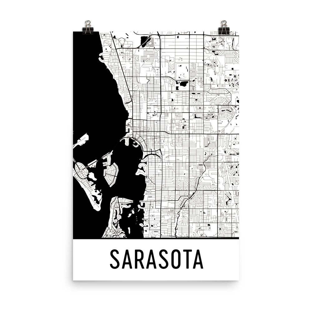 Sarasota Florida Street Map Poster White