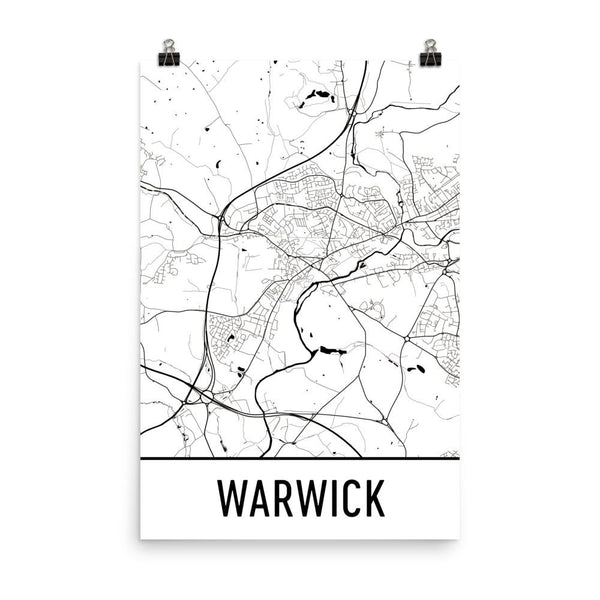 Warwick UK Street Map Poster White