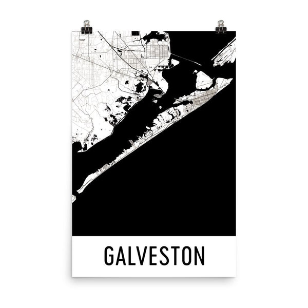Galveston TX Street Map Poster White