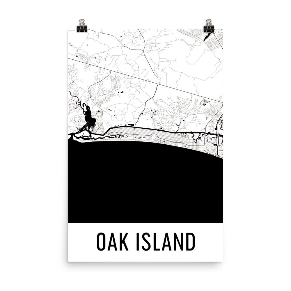 Oak Island NC Street Map Poster White