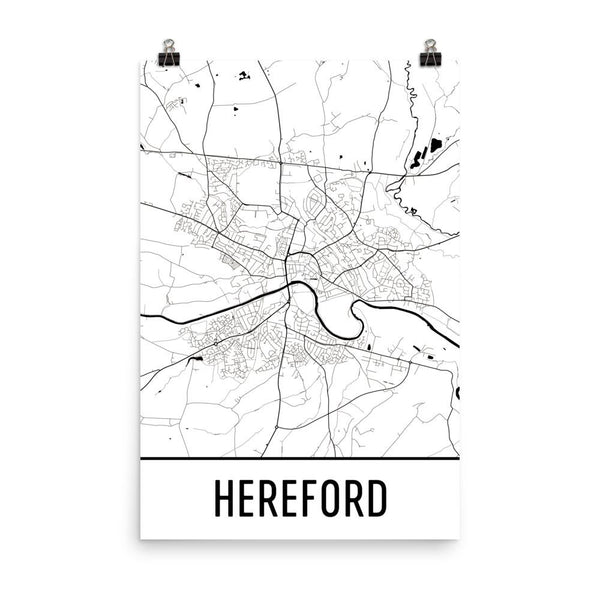 Hereford UK Street Map Poster White