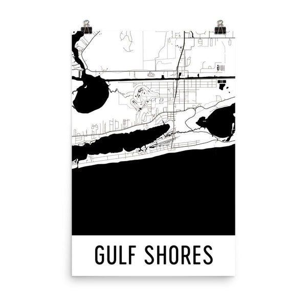 Gulf Shores AL Street Map Poster White