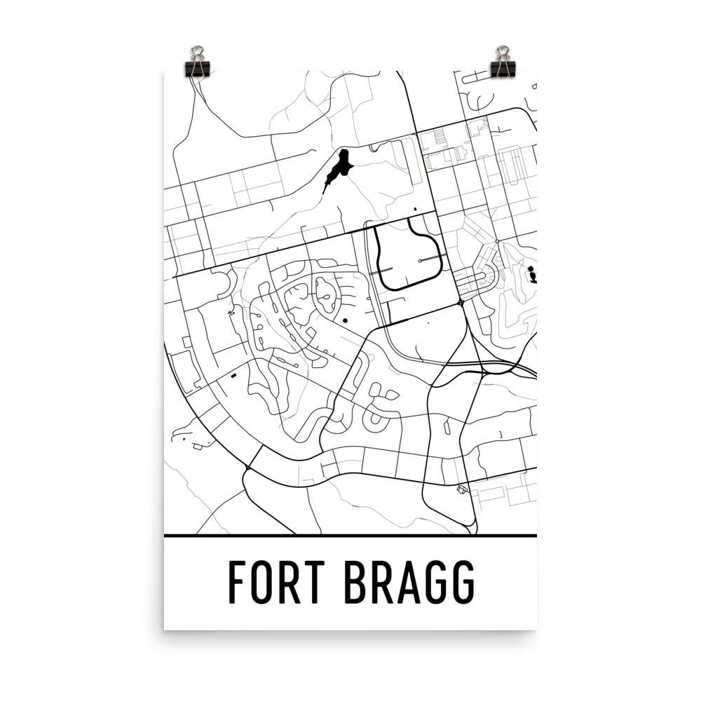 Fort Bragg NC Street Map Poster White