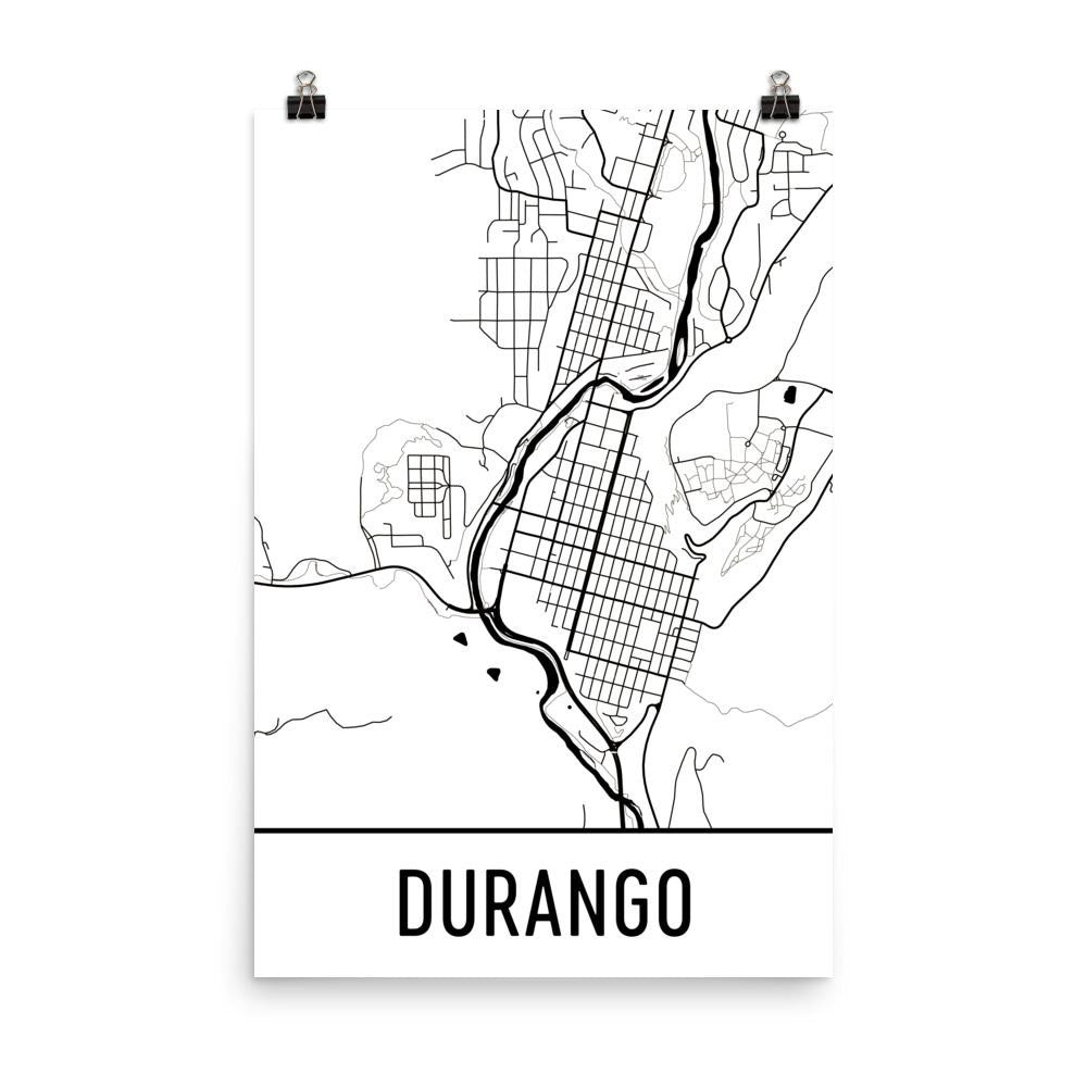 Durango CO Street Map Poster White