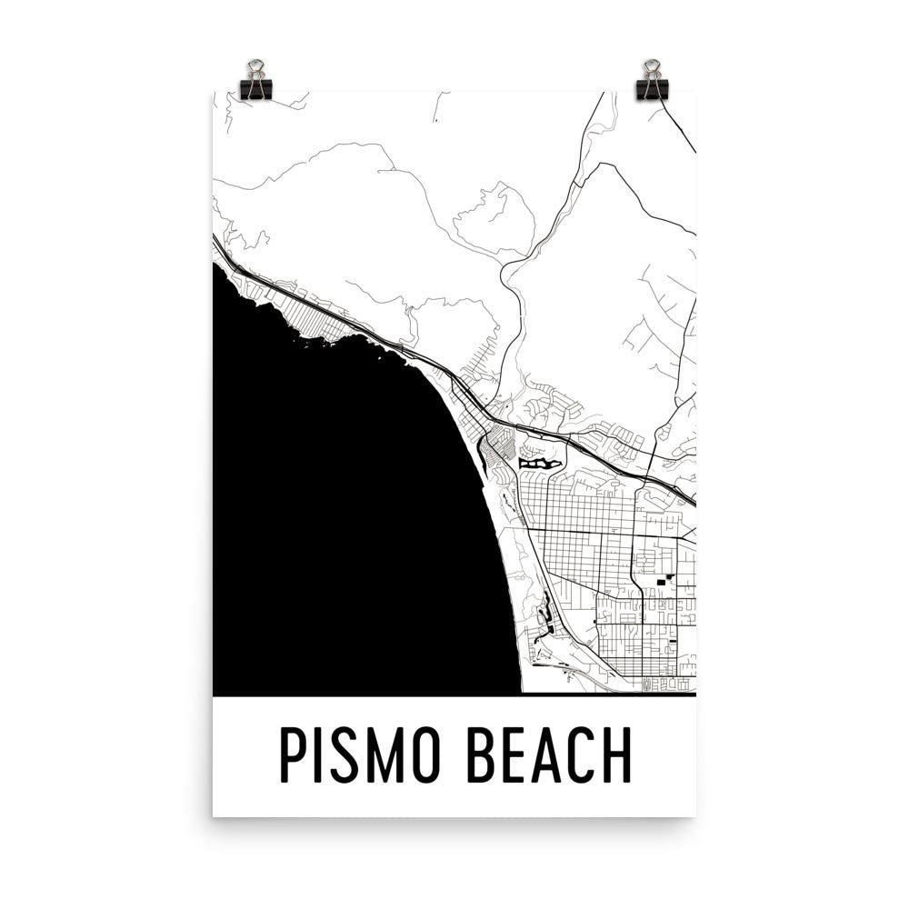 Pismo Beach CA Street Map Poster White