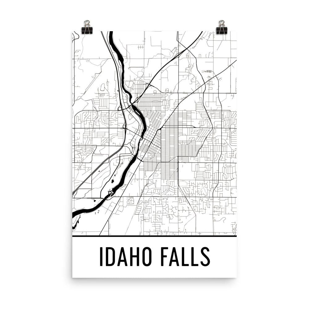 Idaho Falls ID Map, Art, Print, Poster, Wall Art From $29.99 - ModernMapArt - Modern Map Art