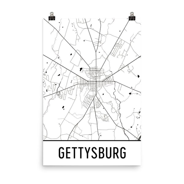Gettysburg PA Street Map Poster White