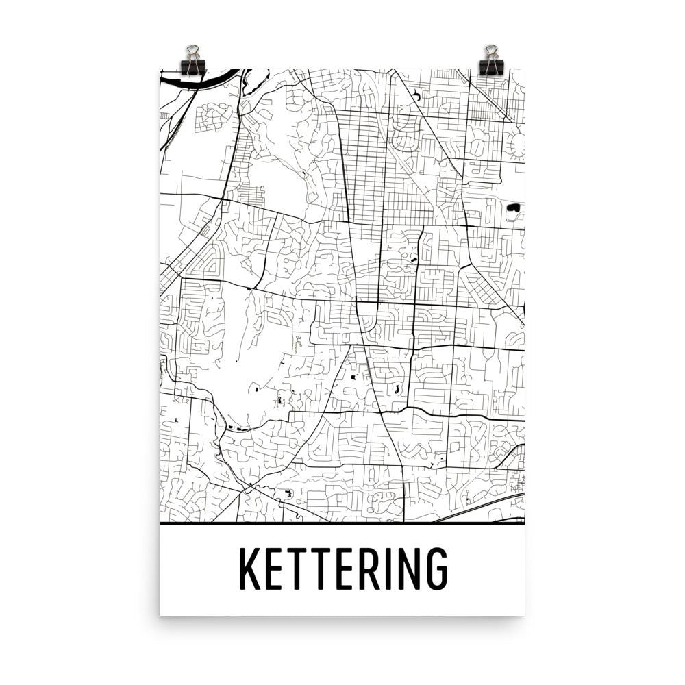 Kettering OH Street Map Poster White