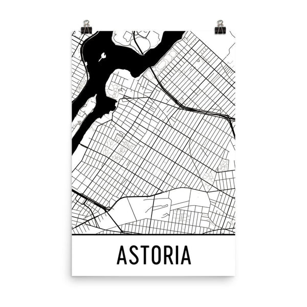 Astoria Street Map Poster White
