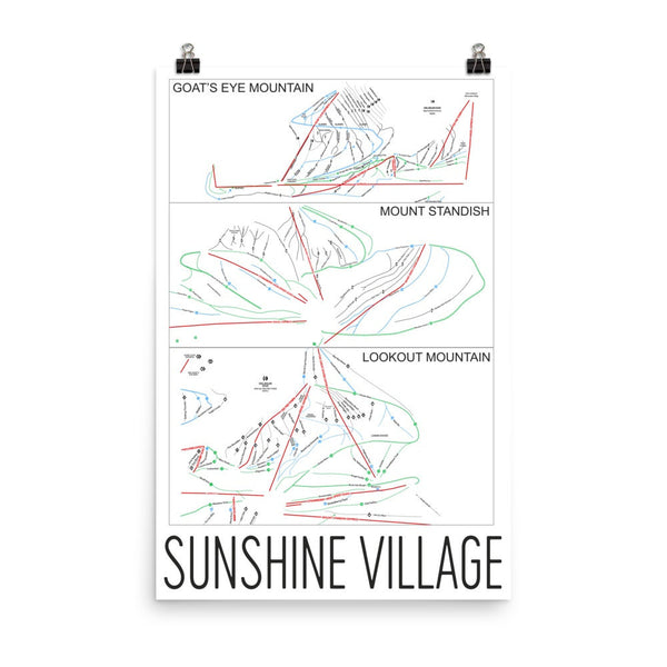 Sunshine Village Ski Trail Map Poster 12x18