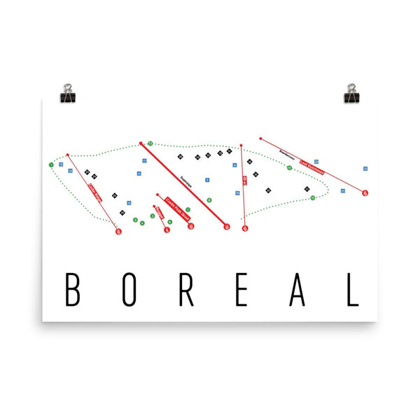 Boreal Ski Trail Map Poster 12x18