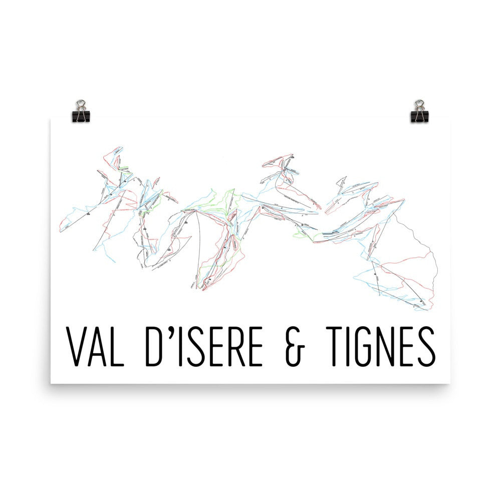 Val dIsere and Tignes Ski Trail Map Poster Skier Gifts by Modern