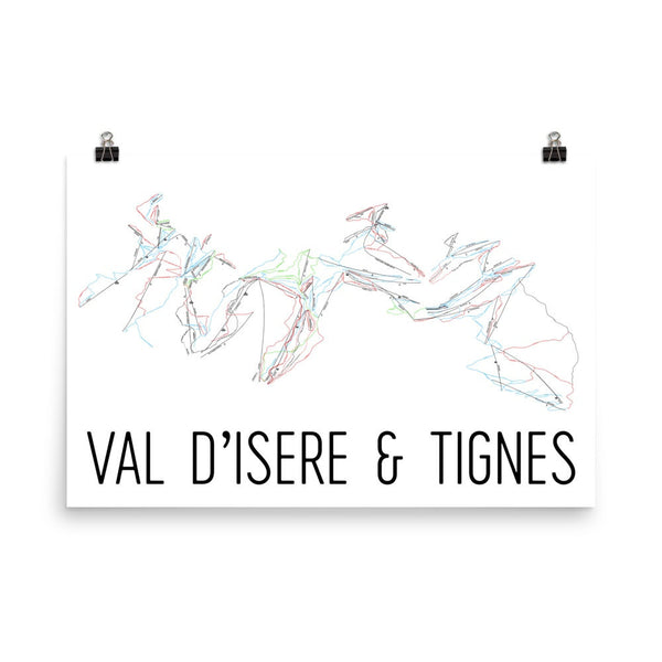 Val d'Isere and Tignes Ski Trail Map Poster 12x18