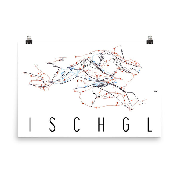 Ischgl Ski Trail Map Poster 12x18