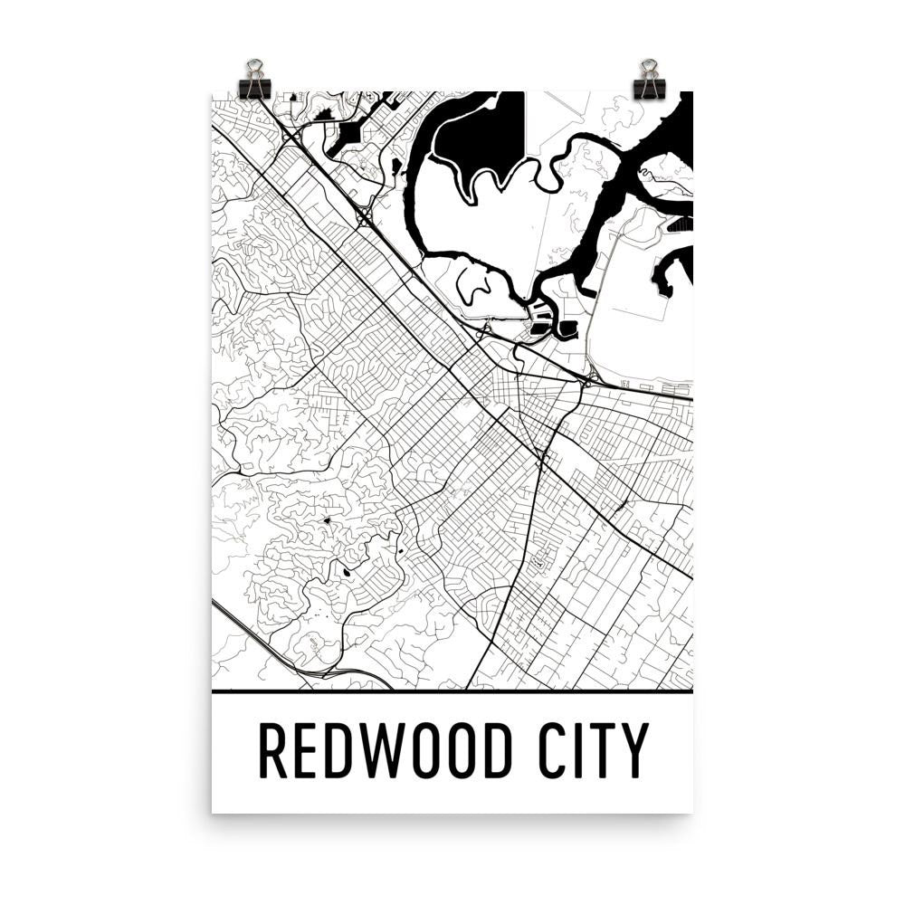 Redwood City CA Street Map Poster White