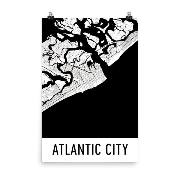 Atlantic City NJ Street Map Poster White