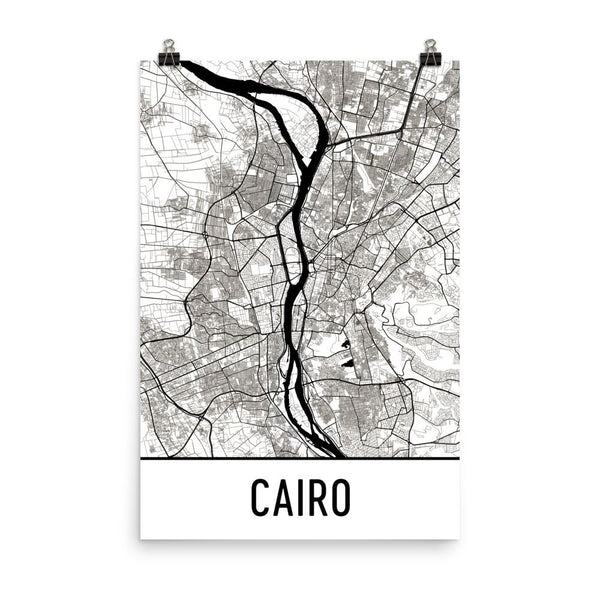Cairo Egypt Street Map Poster White