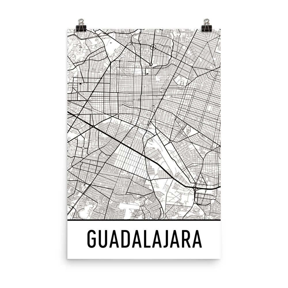 Guadalajara Mexico Map, Art, Print, Poster, Wall Art From $29.99 - ModernMapArt - Modern Map Art