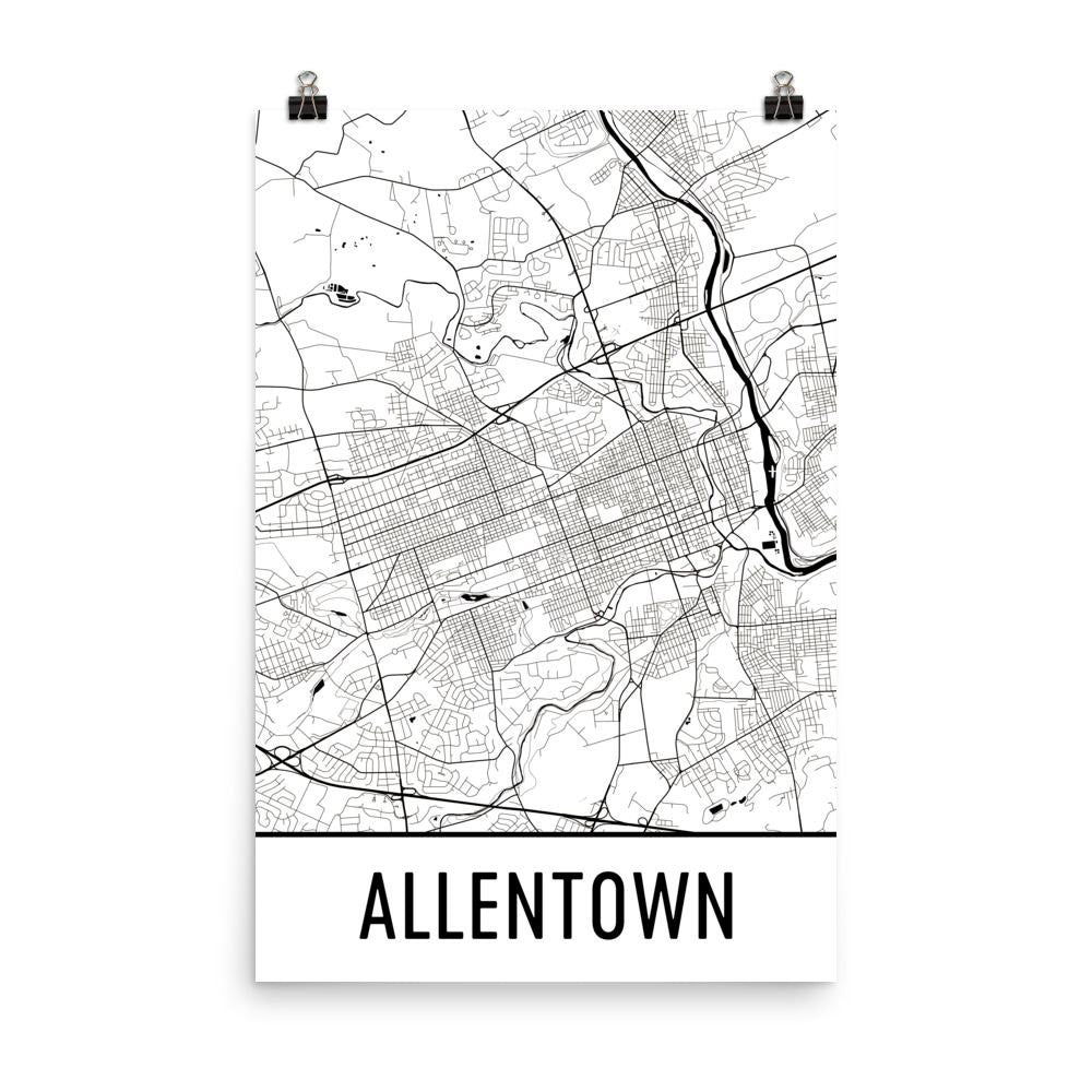 Allentown PA Street Map Poster White
