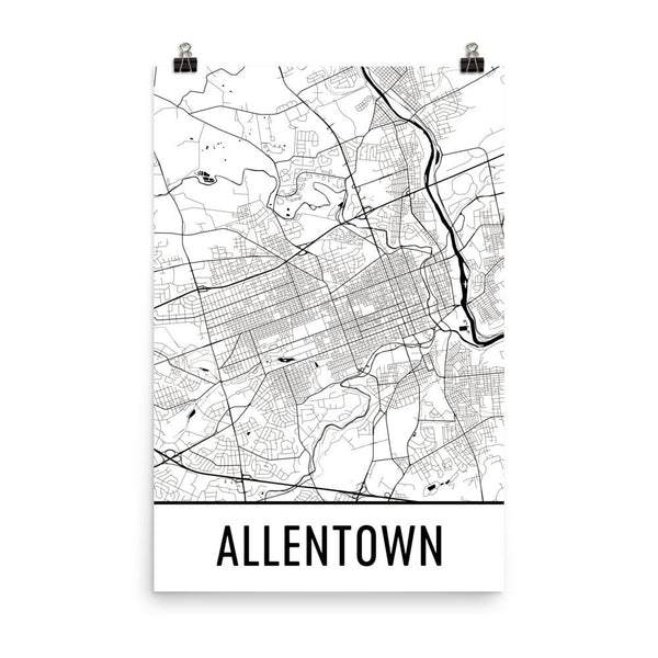 Allentown PA Map, Art, Print, Poster, Wall Art From $29.99 - ModernMapArt - Modern Map Art