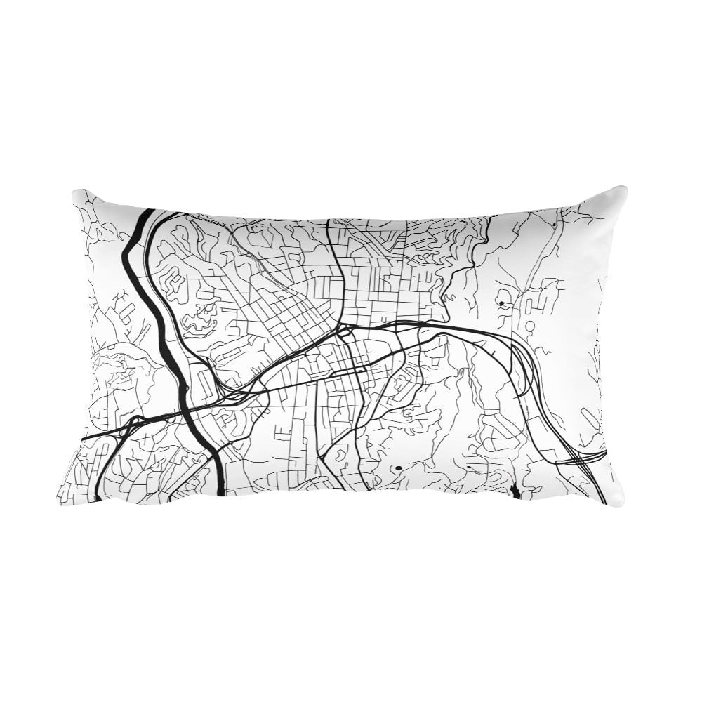 Asheville black and white throw pillow with city map print 12x20