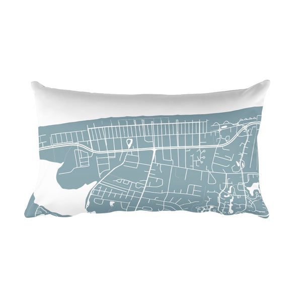 Bethany Beach black and white throw pillow with city map print 12x20