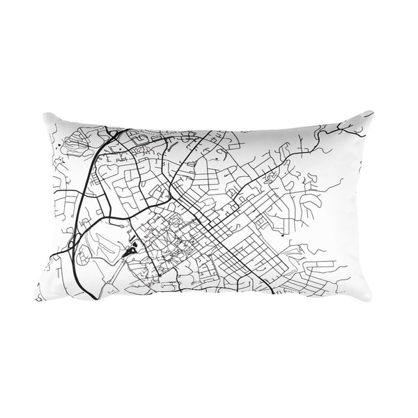 Blacksburg black and white throw pillow with city map print 12x20