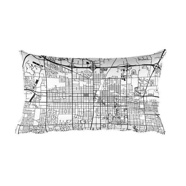 Champaign black and white throw pillow with city map print 12x20