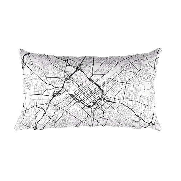 Charlotte black and white throw pillow with city map print 12x20