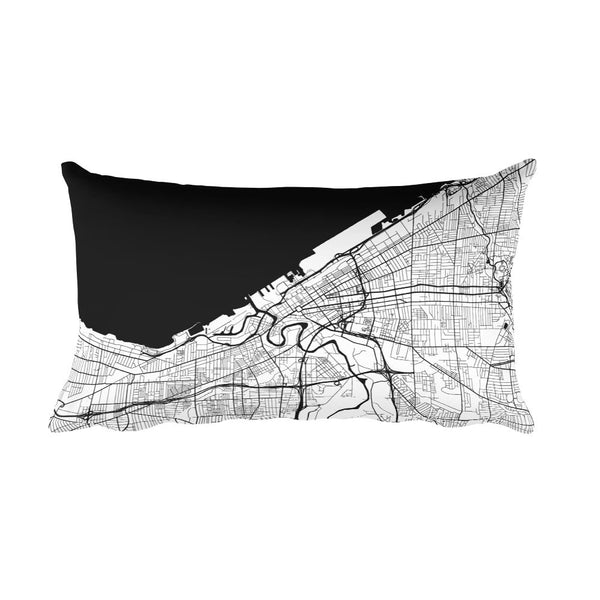 Cleveland black and white throw pillow with city map print 12x20