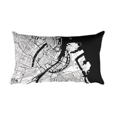 Copenhagen black and white throw pillow with city map print 12x20