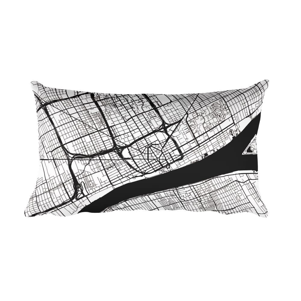 Detroit black and white throw pillow with city map print 12x20
