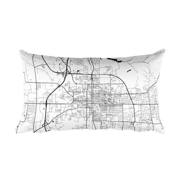 Bloomington black and white throw pillow with city map print 12x20