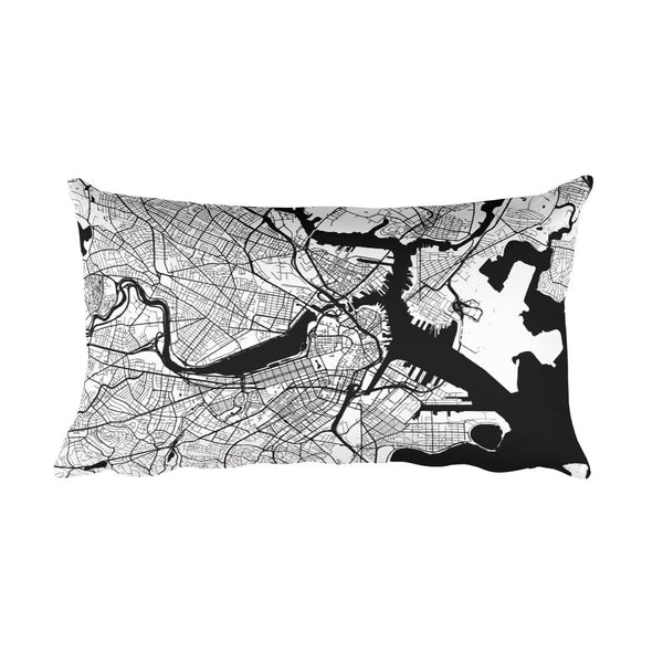 Boston black and white throw pillow with city map print 12x20