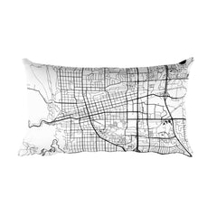 Boulder black and white throw pillow with city map print 18x18