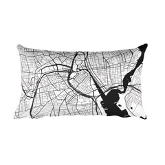 Providence black and white throw pillow with city map print 12x20