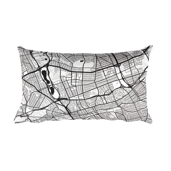 Queens black and white throw pillow with city map print 12x20