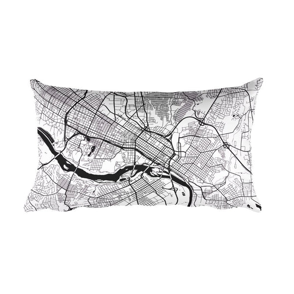 Richmond black and white throw pillow with city map print 12x20