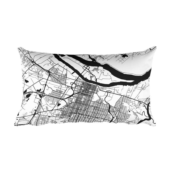 Savannah black and white throw pillow with city map print 12x20