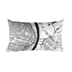 St. Louis black and white throw pillow with city map print 12x20