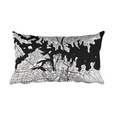 Sydney black and white throw pillow with city map print 12x20