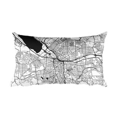 Syracuse black and white throw pillow with city map print 12x20