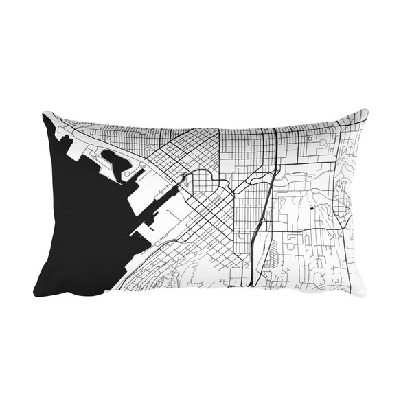 Bellingham black and white throw pillow with city map print 12x20
