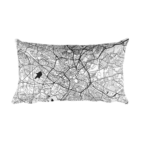 Birmingham black and white throw pillow with city map print 12x20