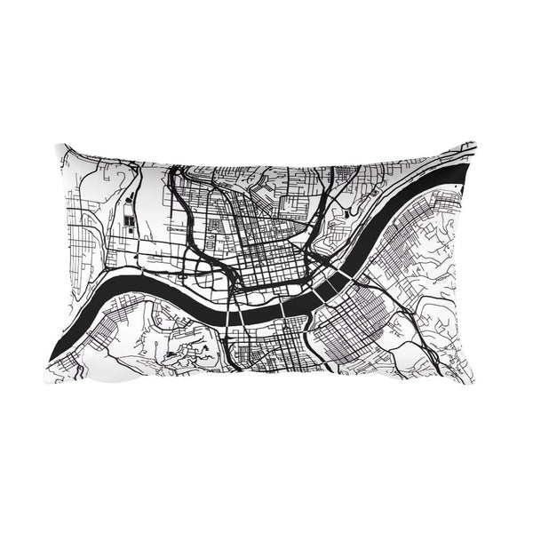 Cincinnati black and white throw pillow with city map print 12x20