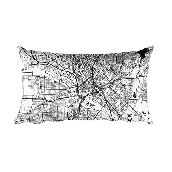 Dallas black and white throw pillow with city map print 12x20