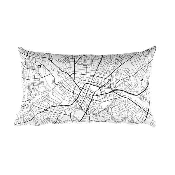 Greenville black and white throw pillow with city map print 12x20